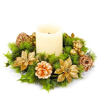 artificial green and gold poinsettia candle ring