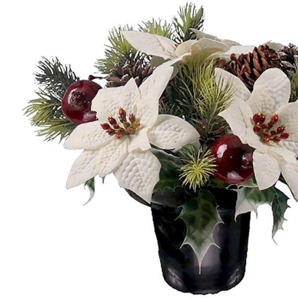 white Christmas poinsettia memorial arrangement with pine cones, fruit and winter foliage