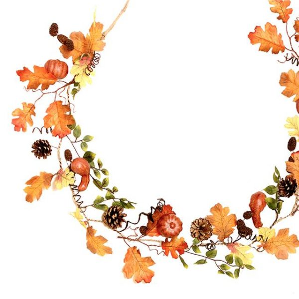 autumn pumpkin garland with artificial leaves