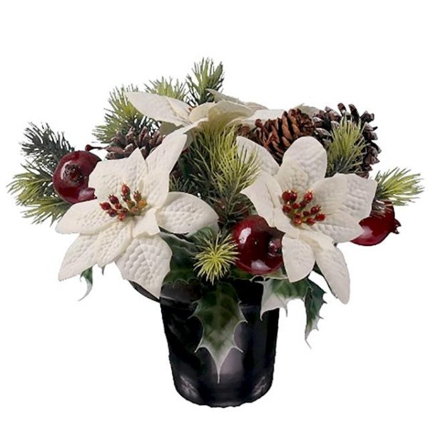 artificial white Christmas poinsettia memorial arrangement with pine cones, fruit and winter foliage