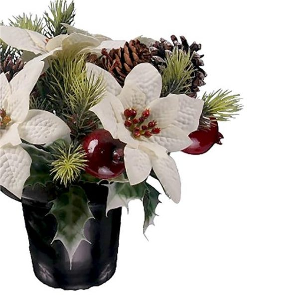 white Christmas poinsettia memorial arrangement with artificial pine cones, fruit and winter foliage