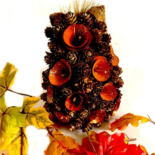 pine cone wooden hedgehog ornament with artificial leaves