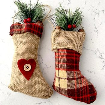 set of two tartan Christmas tree stocking decoration