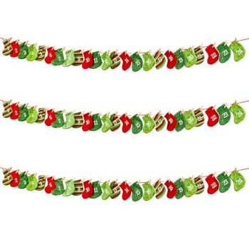 160cm Advent Christmas Stocking Garland