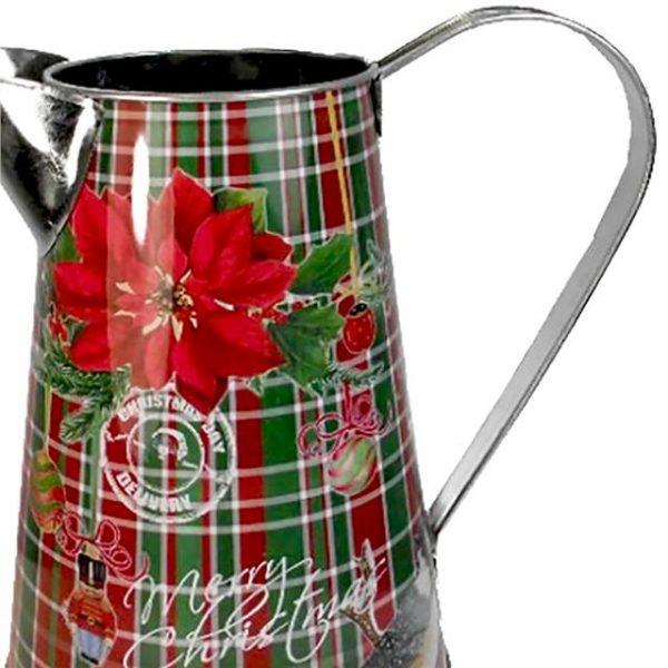 metal Christmas poinsettia tartan jug