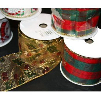 Tartan Fabric Wired Christmas Ribbon