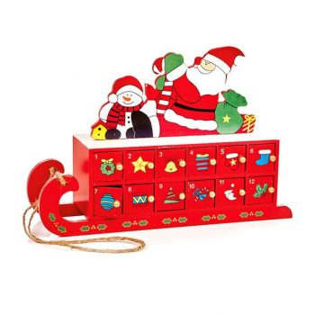 Wooden Sleigh Advent with Sants