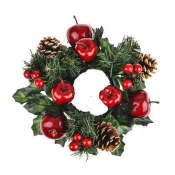 Artificial Candle Ring with Apples Berries & Pine Cones