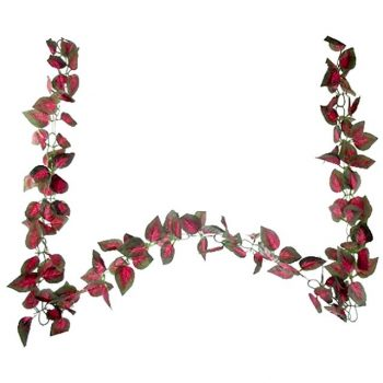 artificial red coleus leaf garland