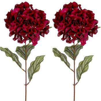 ruby red silk hydrangea flowers
