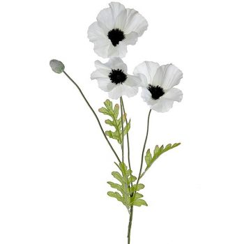 Artificial White Poppy Flower Stem
