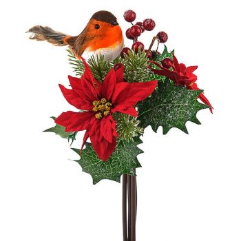 artificial poinsettia bouquet with robin