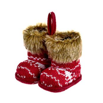 Knitted Red Wool Fairisle Design Boots Hanging Christmas Decoration