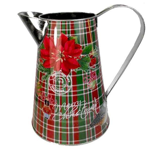 Christmas metal poinsettia tartan jug