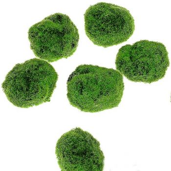 six artificial moss balls