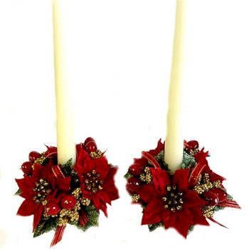 set of two poinsettia candle rings