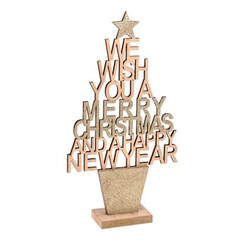 Christmas tree wood sign with festive greeting