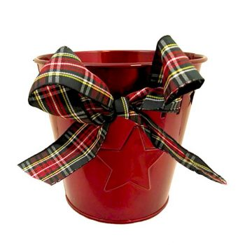 Red Metal Round Pot with Star Design and Tartan Ribbon Bow