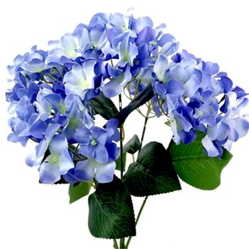 49cm Artificial Hydrangea Bush Blue