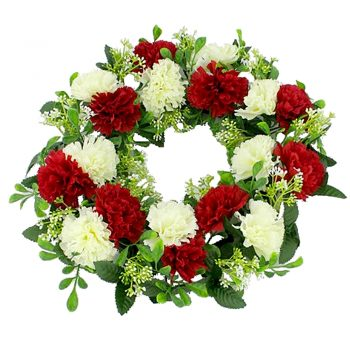 Artificial Carnation Wreath Red Cream