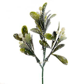 Artificial Frosted Mistletoe Pick 20cm