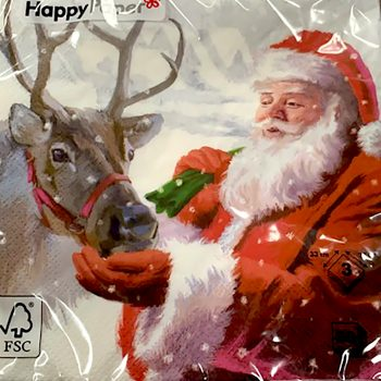 Father Christmas and reindeer Christmas Napkins