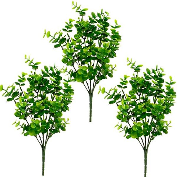 Pack of 3 Artificial Eucalyptus Bush Green