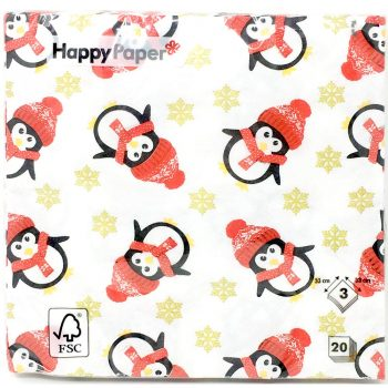 Penguin and gold snowflake Christmas Dinner Napkins