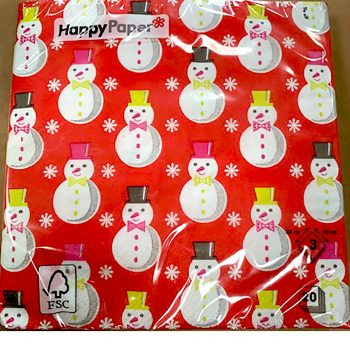 Red Snowman and Snowflake Christmas Napkins