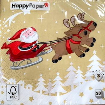 Santa with Sleigh Gold Christmas Napkins