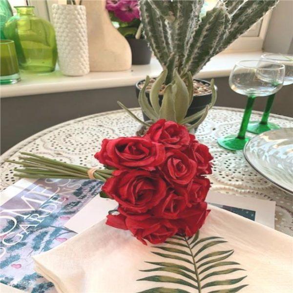 Artificial Rosebud Bundle - 12 Stems Red