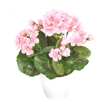 Artificial Potted Pale Pink Geranium