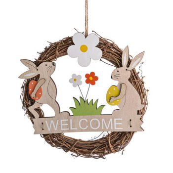 Easter Bunny Rattan Welcome Wreath