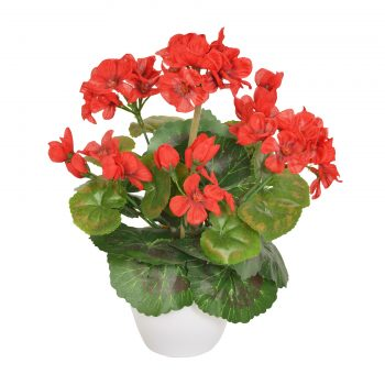 Artificial Potted Red Geranium