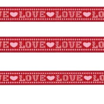 Grosgrain LOVE Ribbon - Baby Pink Hearts on Red