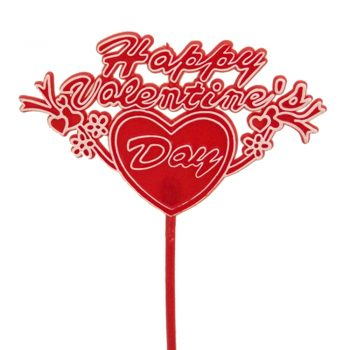 Happy Valentines Day Heart Plastic Floral Pick