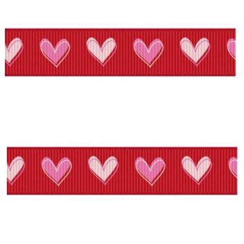 Grosgrain Red Ribbon with Pink and White Hearts
