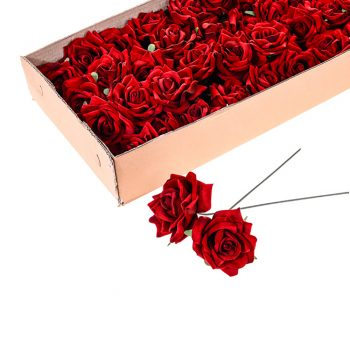 Pack of 24 wired Artificial Red Velvet Roses