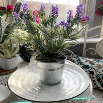 Artificial Lavender Plant in Silver Flower Bucket