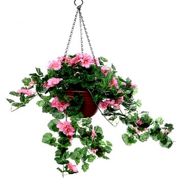 Artificial Hanging Basket with Trailing Pink Geranium Plant