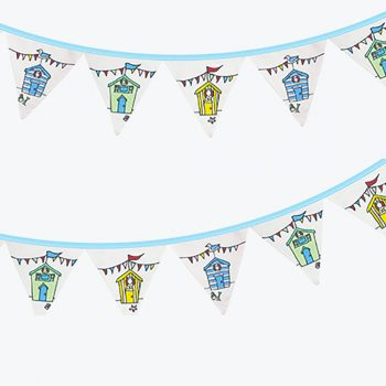 Nautical Beach Huts Fabric Bunting Garland