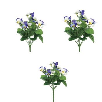 Artificial Pansy Bush Blue and White