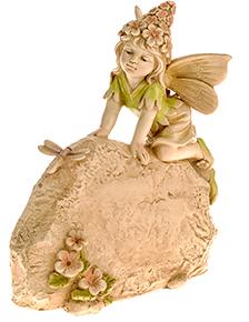 Secret Garden Fairy Kneeling on Stone Ornament