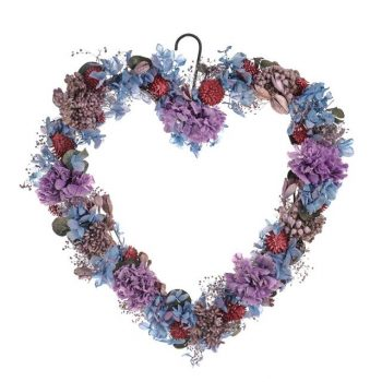 Artificial Forget-Me-Not Heart Wreath