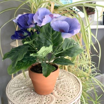 Artificial Blue Potted Pansy