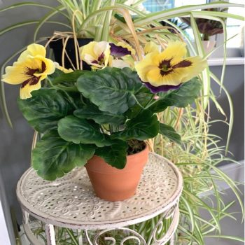 Artificial Yellow Potted Pansy