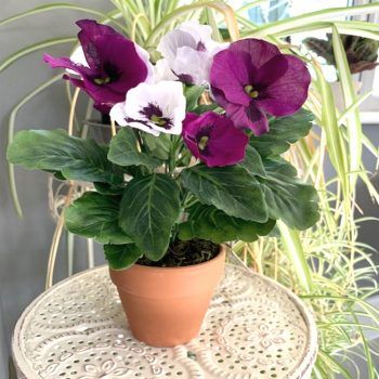 Artificial Purple and White Potted Pansy