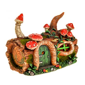 Secret Garden Solar Light Up Fairy House Log Stump with Red Toadstools