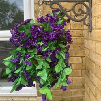 Artificial Purple Morning Glory Hanging Basket