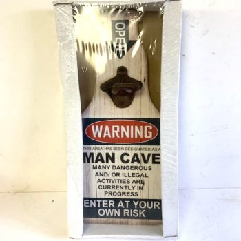 Bottle Shaped Man Cave Warning Beer Sign Enter at Own Risk With Opener